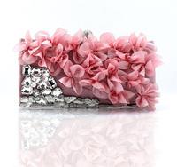2014 flower evening bag bridal bag banquet bag  rhinestone women's clutch bag #1064