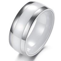 Fashion accessories jewelry personalized wide titanium ceramic ring white women's finger ring