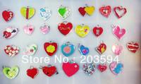 M8452 Wholesale 100Pcs/Lots mixed Enamel Alloy Heart Charms Pendant Diy Mobile phone Accessories