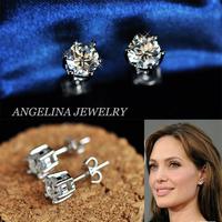FREE SHIPPING~New Jewelry Fashion 925 Silver Sterling Shinning Six Claw Zircon Beautiful Earring