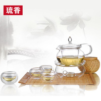 Heat-resistant glass tea set set teapot candle heated combination vanilla pot 450ml
