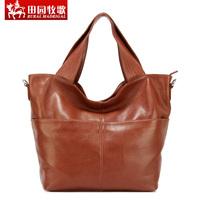 Rustic eclogue genuine leather women's handbags 2014  cowhide shoulder bag casual bucket bag #1046