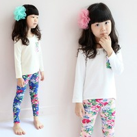 5 pcs/lot girls autumn spring leisure wear fashion flower 2 pieces sets,1931