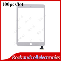 100PCS/LOT White For iPad mini Touch screen digitizer glass replacement No IC DHL free
