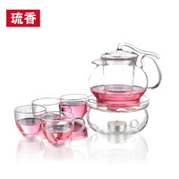 Seleucus heatresisting herbal tea flower pot set glass tea set combination of oz pot 6 600ml