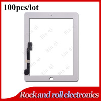 100PCS/LOT White For iPad 3 iPad 4 Touch Screen Digitizer Glass Replacement DHL Free Shipping