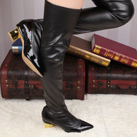 2014 Design Sexy Black Patent Leather/Sheepskin Gold Heels Pointed Toe Over Knee Boots For Women,Winter Slip On Brand Long Boots