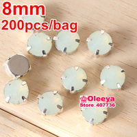 Free shipping 200pcs/lot 8mm White opal Rivoli Crystal With Claw Setting Round Sew on Crystal beads Diamante with Settings