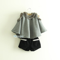 2013 children's clothing winter female child thickening cloak child fashion fur collar solid color cloak ay50a8