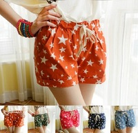 2014 summer women casual cute candy color elastic waist shorts denim shorts with star pattern