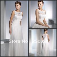 DHL Free shipping Designer Mordern Long Beach Wedding Dresses 2014 Lace Decoration Sexy High Collar Vestido De Noiva BH-025