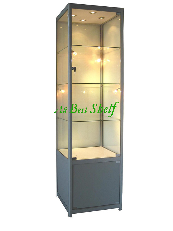 Lockable tower display cases with lights showcase, glass vitrine(China (Mainland))