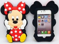 Wholesale Free Shipping 3d Cartoon Mouse Soft Silicone Case Cover for iphone 4 4S