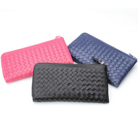 New 2014 Genuine leather Lambskin hand knitting women's wallets clutch long design purse bags wholesale 3632