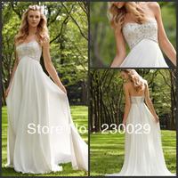 Free shipping Worldwide Elegant Long White Chiffon Beach Bride Dress 2013 Hand Work Ruffles Beads Lace-up Back  BH-044