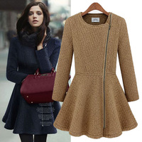 Hot Sale2013 Winter Women Woolen coat Chili Style Coat waist slim Oblique Zip long sleeve overcoat