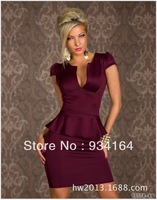2014 Newest Hot Sexy V neck OL Women Summer Peplum Career Dress White Long pencil Work dress homecoming dress