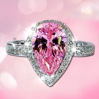 Artificial Diamond Ring Female Gem Accessories Zircon Austria Crystal Jewelry Fashion Jewellery Pink Stone Ring Fashion Rings