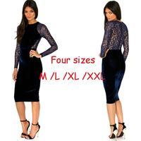 Newest 2014 Women Autumn Winter Long Sleeve Blue Velvet Lace Patchwork Knee Length Celebrity Party Dress