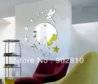 Listed in Stock Free Shipping 45x60cm 18x24in Flying Fairy Trilly Angle With Stars Round Wall Mirror Sticker Adhesive MS361102