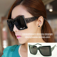 Free shipping lowest price wholesale Rectangle metal sunglasses oversized carved mirror sunglasses 14967  10pcs/lot