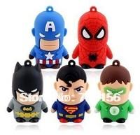 Avengers Captain America + Superman + Spiderman + Batman + Green Lantern 4GB-32GB USB 2.0 Flash Drive Memory Pen drive Cartoon