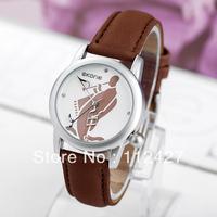 TJ-012 Fashion New 2013 High Quality Brand Leather Strap Movement Quartz Clock Women Dress Watch Wristwatches--free shipping