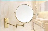 Free shipping Wholesale And Retail Promotion Modern Golden Brass Wall Mounted Beauty Makeup Mirror Magnifying Round Mirror