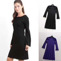 Fashion three quarter sleeve o-neck thread slim sweater female basic one-piece dress autumn and winter 9