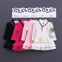 Rl polo autumn and winter infant velvet one-piece dress turn-down collar velvet dress