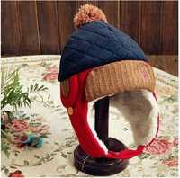 Cute baby keep warm hat  of mixed colors;  Korean version plus velvet winter bomber hat protect ear