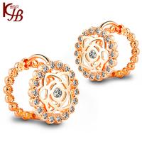 New Arrival 2014 Fashion OL Jewelry  18k Gold  Rose  Women  Earrings Clips B2521