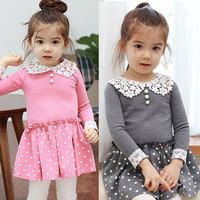 Girls long-sleeved dress European style Spring 2014 new girls stitching lace collar Polka Dot Dress Pink Gray 131227007-BW