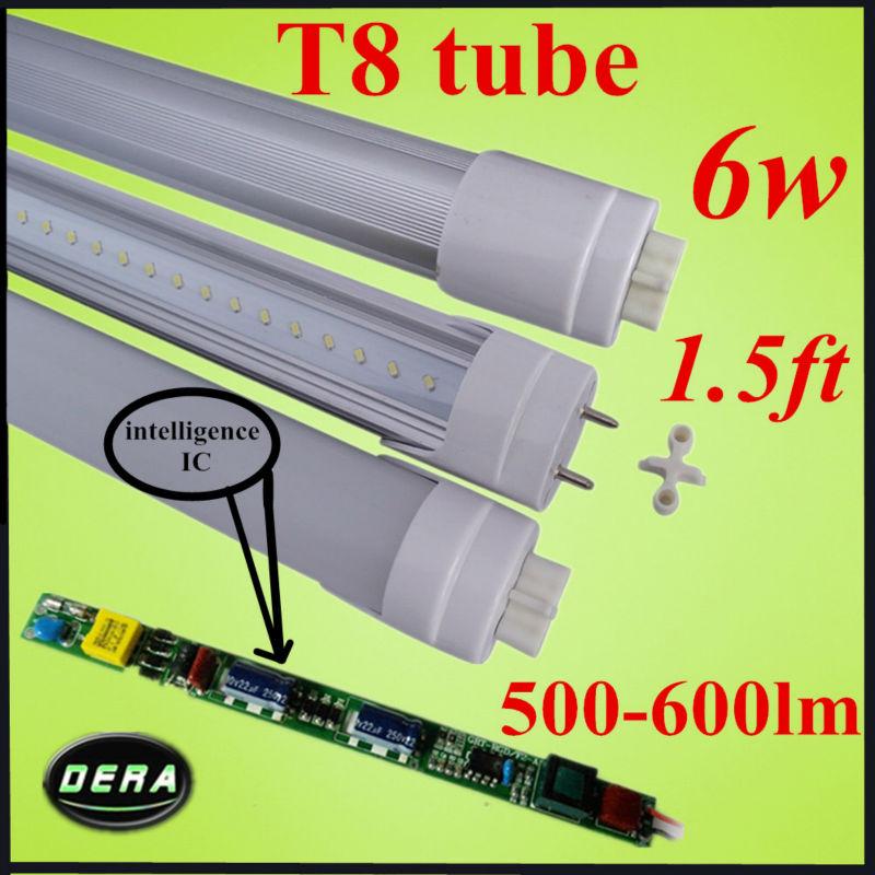 free shiping 1pcs t8 led tube 45cm 6w 85-265v G13 led tube bulb 1.5ft 500-600lm epiatsr 120v led fluorescent tube sample(China (Mainland))