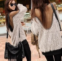 Drop Shipping Sexy Sweaters Gauze Backless Shirt Long Sleeve Sweater Top Shirts Women Sexy Raglan Transparent MESH Fur Sweater