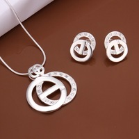Hot and Promotion 925 Fashion Silver Plated crystal Jewelry sets with Ring Necklace and Earring 18 inch Free Shipping Factory