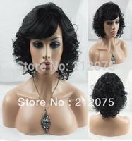 *Fashion women curly  wig*Short elegant Curly Human Hair Wig  black color