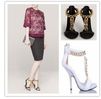 Free Shipping New 2014 Women Thigh High Heels Sandals Summer Genuine Leather Chain Sandals Black/White