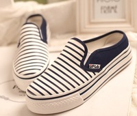 New arrival 2014 stripe shoes lazy female casual half-slippers  demin  canvas shoes platform  for woman 2color