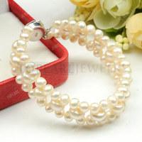 Free Shipping! Ladies Elegant 925 Silver Flower Clasp White Pearls Bracelet FBR158