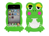 Wholesale Free Shipping !Cute 3D Frog Silicone Skin Case Cover for Apple iPhone 4 4S