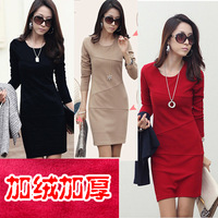 2013 Winner long-sleeve dress women's slim hip patchwork long-sleeve slim elegant one-piece dress plus velvet thickening