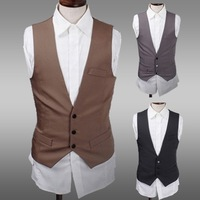 2014 Men's New single-breasted casual vests mens suit vest 3 color 3 size 124016
