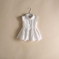 new 2014 summer kids causual  long Hollow Lace blouse children t shirt white 6pcs/lot