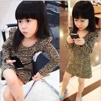 2014 Children leopard print dress children's clothing female child basic princess one-piece dress kid's fashion Full dress