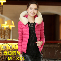 (HB)Wadded jacket 2013 autumn and winter women large fur collar slim down cotton-padded jacket  small