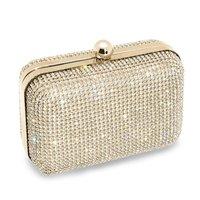 Free-shipping, Luxury Crystal Clutch Evening Bag Fashion Women Party Prom Bag Both Sides Full Rhinestone Wedding Bag 2 Colors