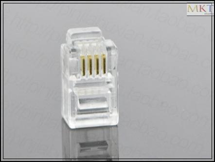 Wholesale (100Pcs/lot) 4P4C 4 Pins 4 Contacts RJ11 Telephone Modular Plug Jack,RJ11 Connector(China (Mainland))