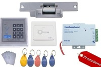 Free shipping Access Control kit , Rfid keypad access control, power supply, Electric Strike Lock.exit buon, 10 em key fob