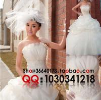 Boutique wedding dress evening dress wedding dress yarn satin embroidery paillette lace wedding dress tube top